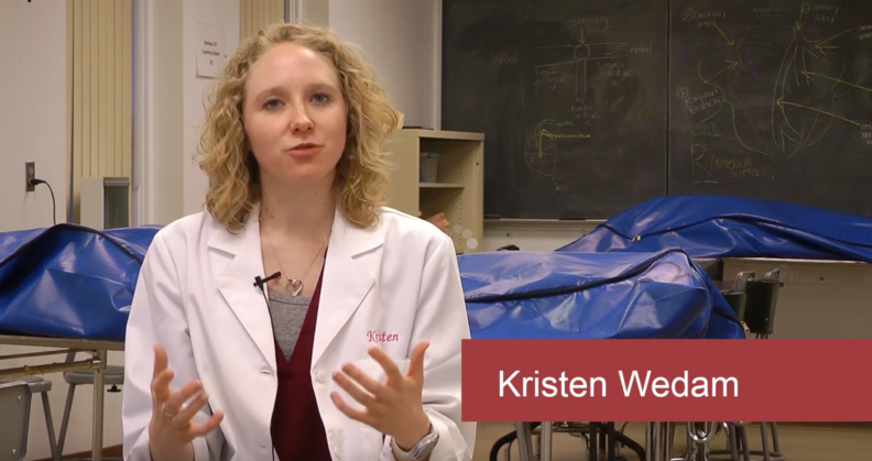 This is a screen shot from a YouTube video featuring WSU Pullman anatomy teaching assistants.