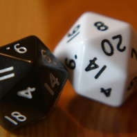 20 sided dice rolling.
