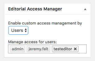 A screenshot of editorial access manager settings by user.