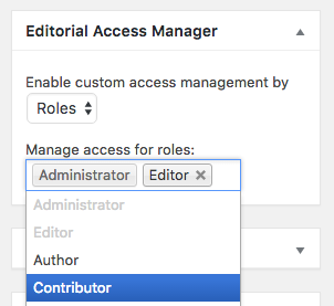 A screenshot of editorial access manager settings by role.