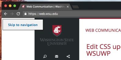 A screenshot of skip to navigation option on page.