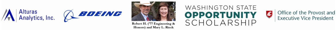 SURCA award sponsors: Alturas Analytics, Boeing, Robert & Mary Rieck, WSOS, and Office of the Provost & Executive Vice President