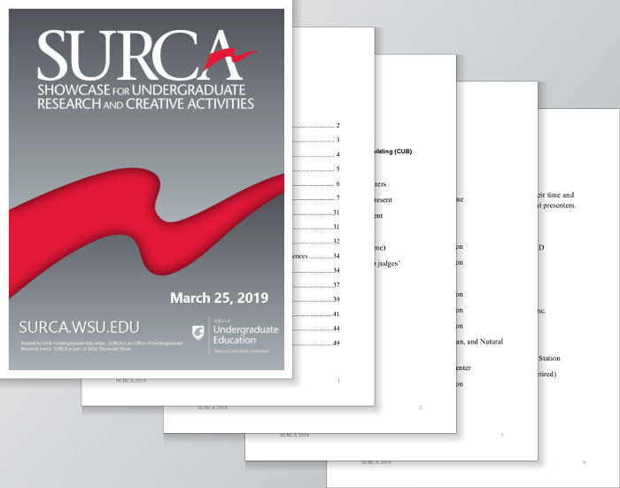 Abstract book being opened for SURCA: Showcase for Undergraduate Research and Creative Activities.