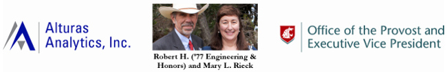 SURCA 2019 award sponsors: Alturas Analytics, Robert & Mary Rieck, and WSU Office of the Provost & Executive Vice President.