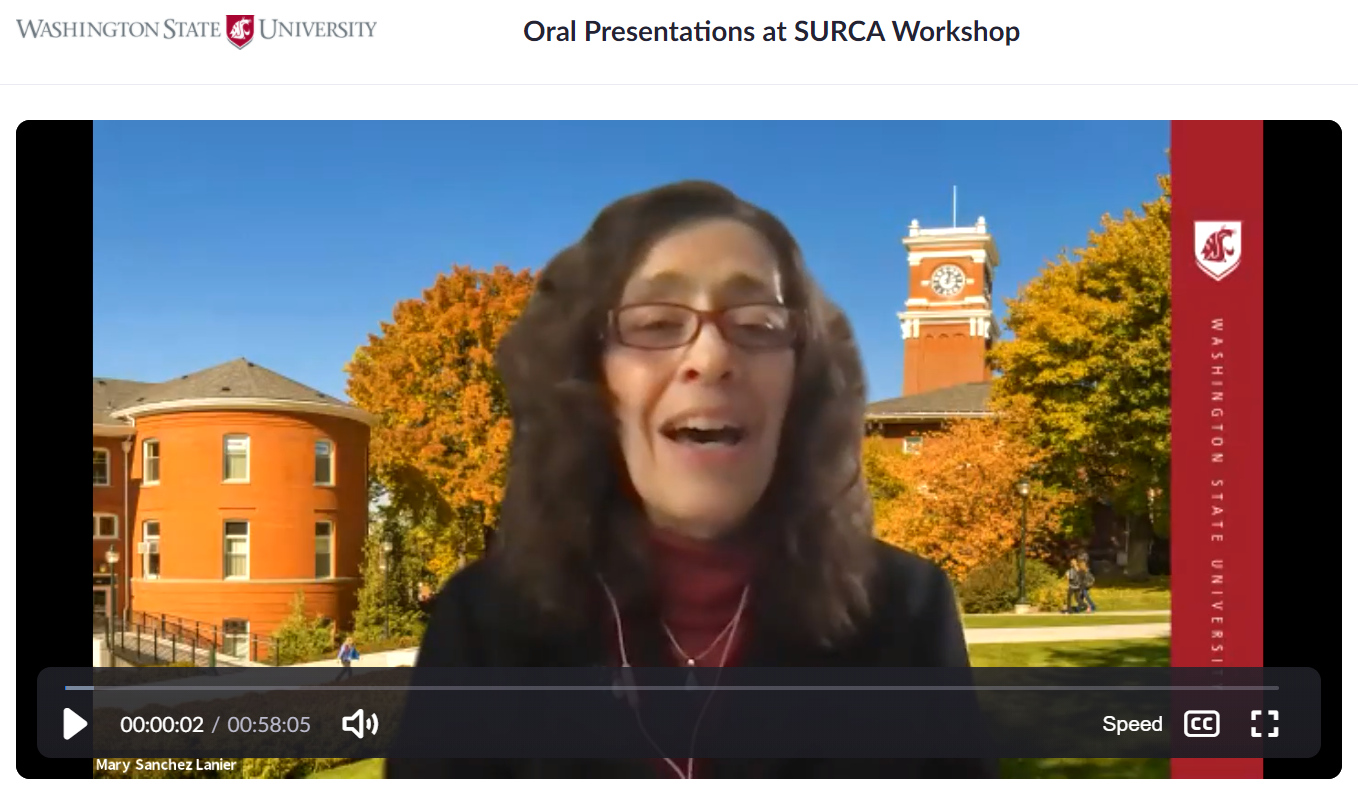 Assistant vice provost Mary Sanchez Lanier delivers a Zoom presentation on making effective oral presentations at SURCA 2021.