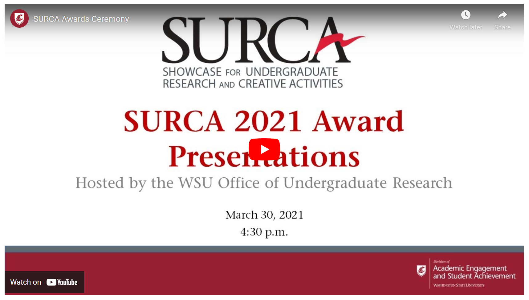 The SURCA 2021 Award Presentations will be on, March 30, 2021, at 4:30 p.m. Visit the link above to watch it on YouTube live.