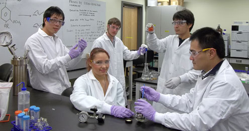 Students in Dr. Xiao Zhang's lab