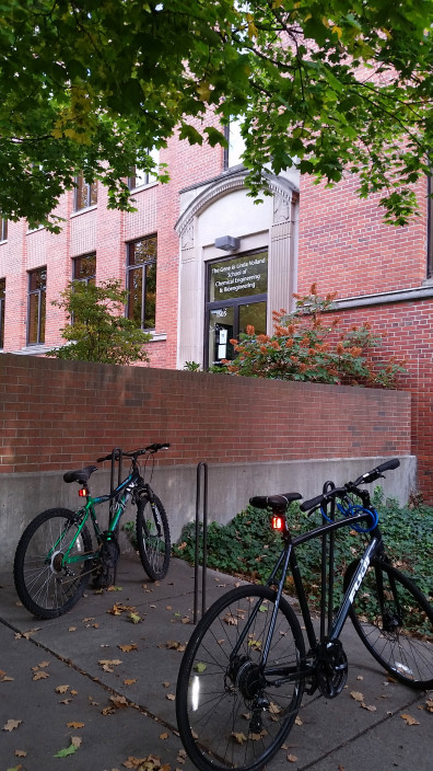 Gene and Linda Voiland School of Chemical Engineering and Bioengineering (front of building with bicycles)