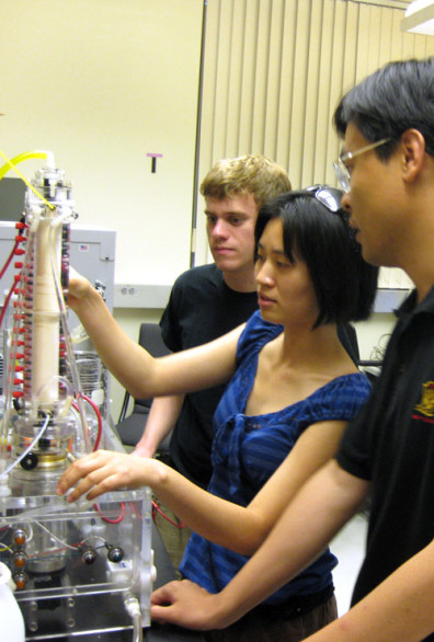 Dr. Cornelius F. Ivory's students working in the lab