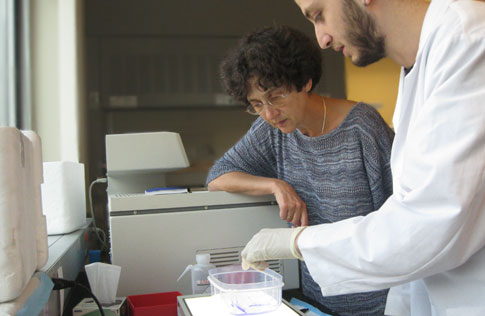 (l to r) Dr. Alla Kostyukova works with graduate student, Mert Colpan