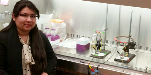 Sujala Sultana in the lab