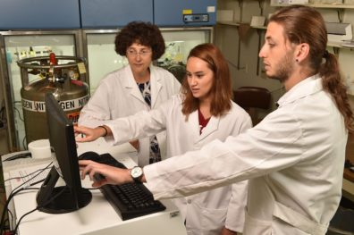 (l to r) Dr. Alla Kostyukova, Samantha Grover, and Mert Colpan working in the lab