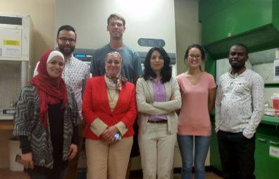 (front, l to r) Alia Mallah, Dr. Nehal Abu-Lail, Somayeh Ramezanian, Chia-Ling Kang, Samuel Uzoechi; (back, l to r) Baran Arslan, Brian Miller