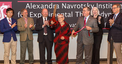 WSU officials cutting ribbon and celebrating opening of Alexandra Navrotsky Institute of Experimental Thermodynamics