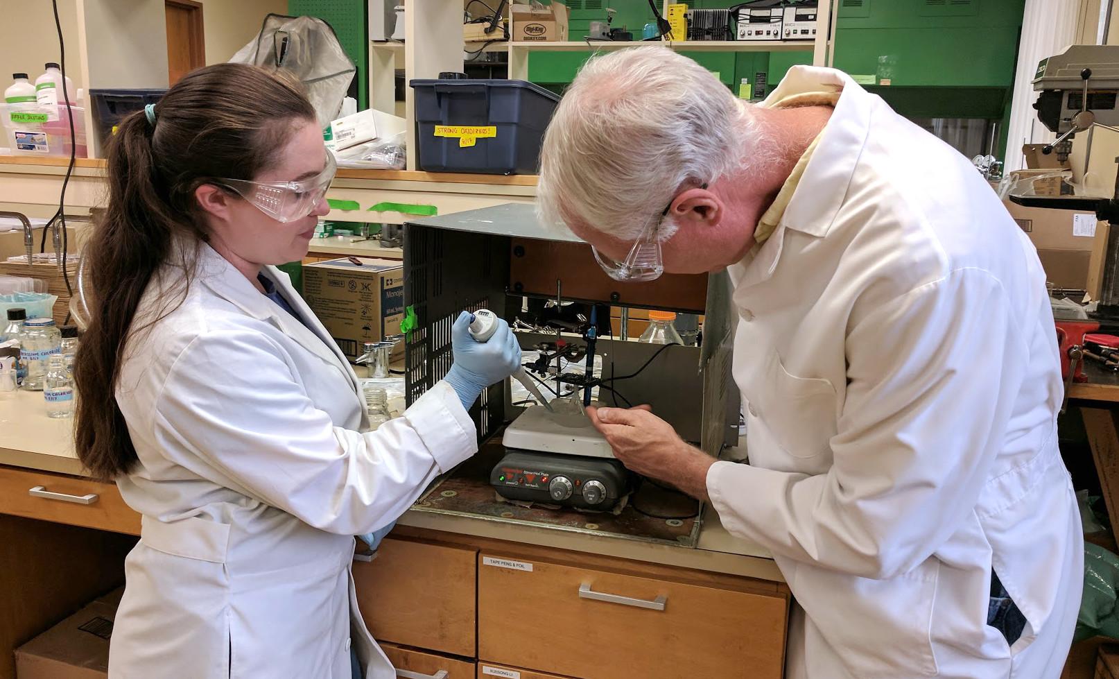 Olivia Ranft and Dr. Bernie Van Wie working in the lab