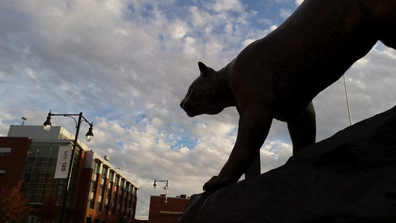 silhouette of cougar sculpture, WSU