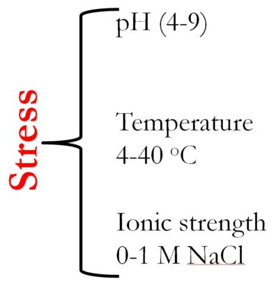 Stress caused by: pH of 4-9, Temperature of 4-40 degrees Celsius, Ionic strength 0-1 M NaCl