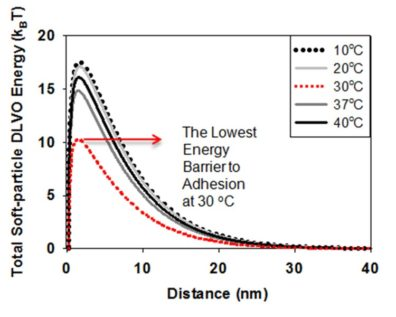 Graph showing Total soft-particle DLVO energy in relation to distance (nm) - The lowest energy barrier to adhesion at 30 degrees C