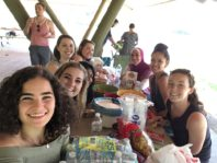 WSU REU Program students sitting at table in picnic shelter