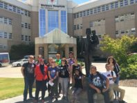 WSU REU Program students pose in front of Shriner's Hospital for Children, Spokane, WA