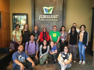 WSU REU Program students pose in lobby of Jubilant HollisterStier in Spokane, WA