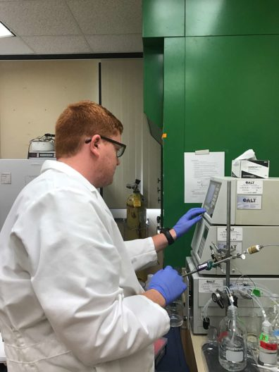 Zach working in the lab