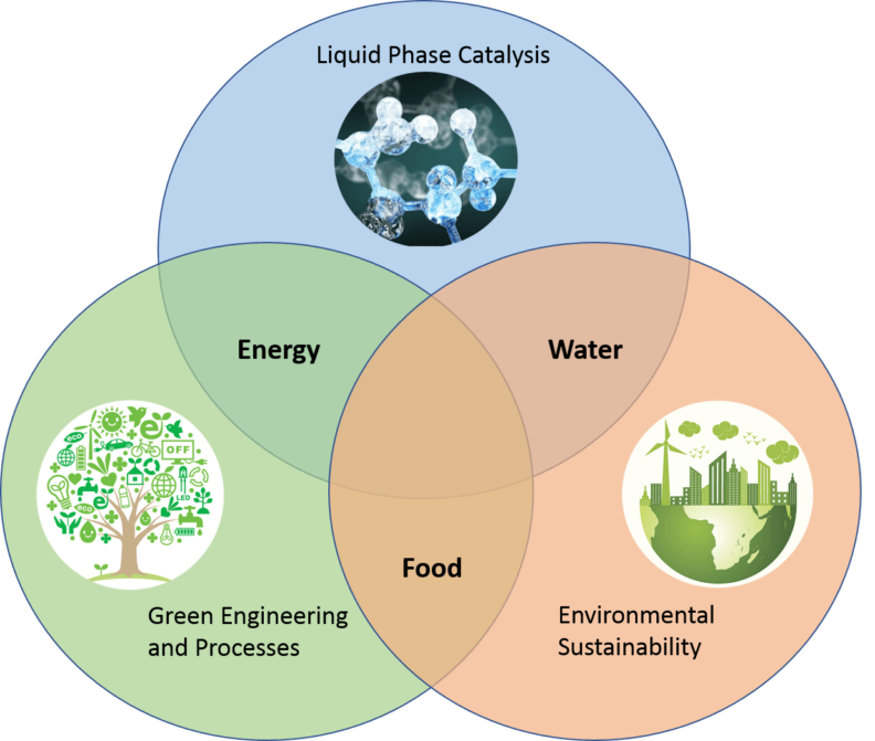 Venn Diagram showing three circles representing areas of research that overlap: Circle 1, Liquid Phase Catalysis (with image of molecules), overlaps Circle 2, Green Engineering and Processes (graphic of tree with light bulbs, sun, drops, power, bicycles, etc. as leaves), and where they overlap there is Energy; Circle 2, Green Engineering and Processes, overlaps Circle 3, Environmental Sustainability (with image of wind turbine, city, and world), and where they overlap there is Water; Circle 3, Environmental Sustainability, overlaps Circle 1, Green Engineering and Processes, and where they overlap there is Food; Where all three circles overlap there are Chemicals