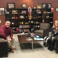 WSU President Kirk Schulz with student, Sherry Voss