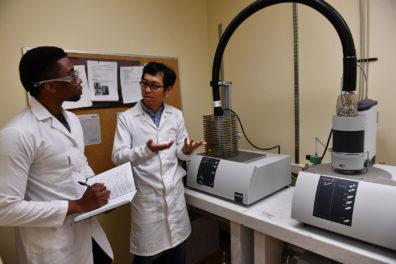 Undergraduate student Gerson Leonel working with Dr. Di Wu
