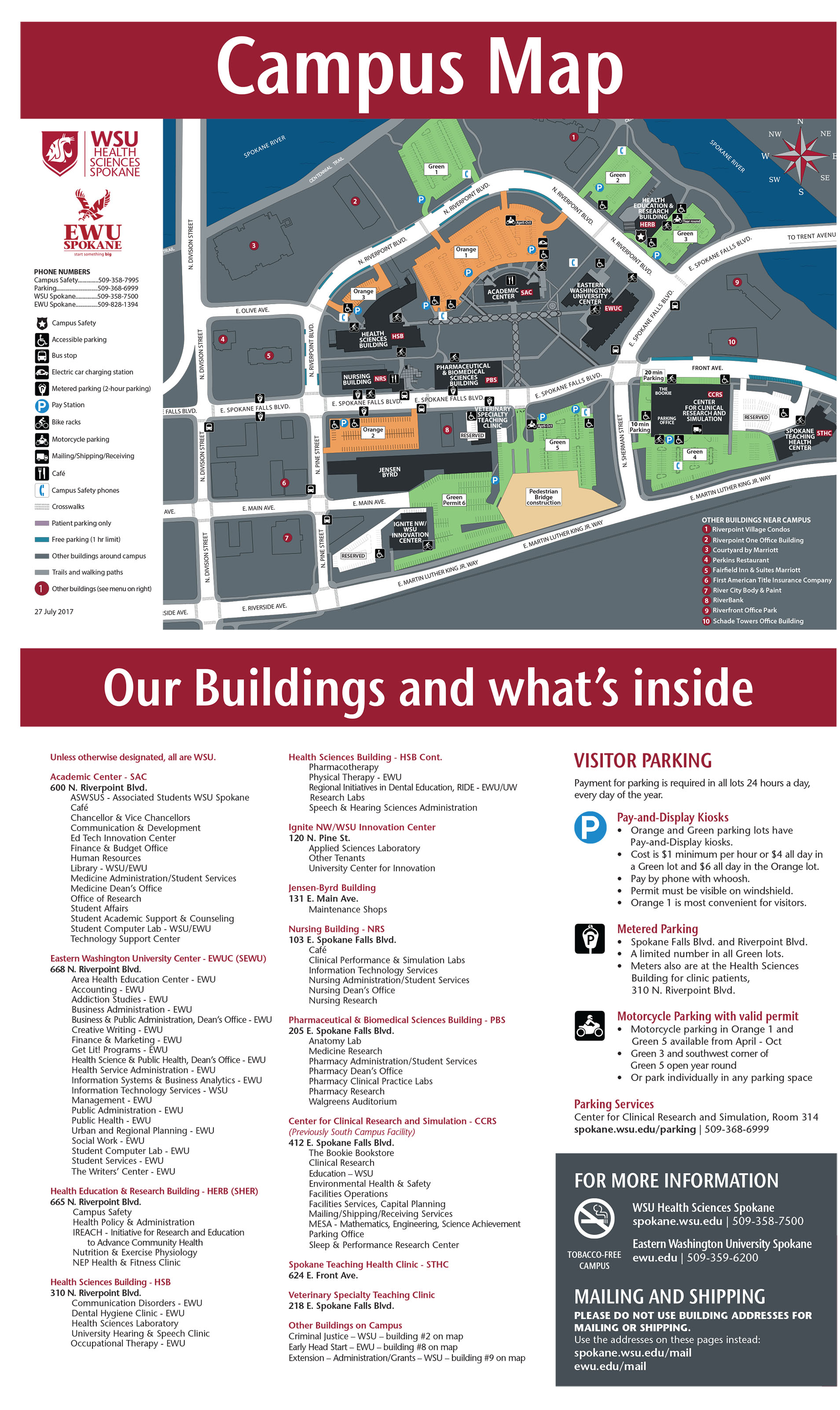 WSU Spokane campus map with directory