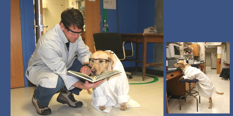 Jeffrey Jones with Ruby, the laborador dog