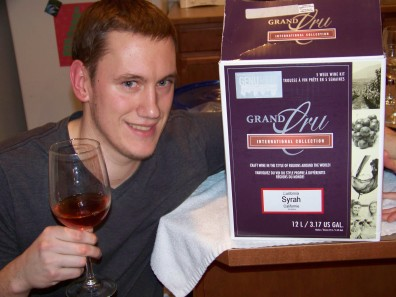 Nick is showing off his syrah wine kit.