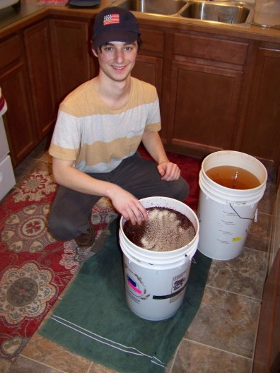 Adding the yeast into the primary fermenter