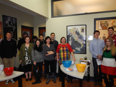 Italian Professor Maria Previto and her class making traditional tiramisu.