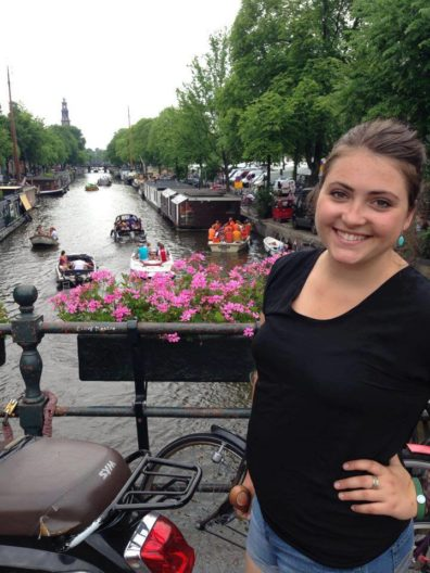 Cori took many trips around Europe during her stay in Spain, here she is in Amsterdam.