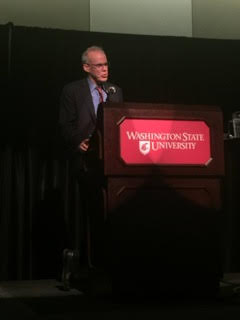 Bill McKibben giving the keynote speech for Humanities Week.