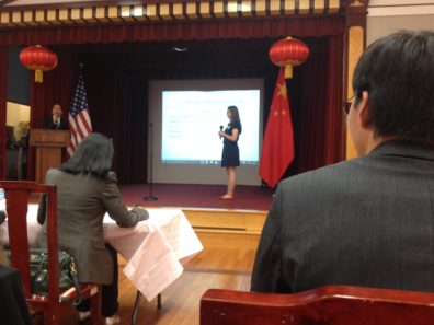 Trudy answering Chinese knowledge questions at the embassy, where the competition was held.
