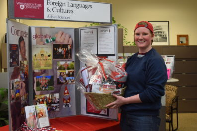 Our Social MediaBasket Winner with her Coug Themed Basket