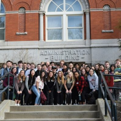 Visiting High School Students Pose with Thompson Hall for Foreign Language Day