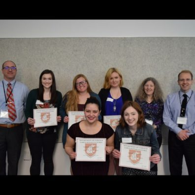 Students Pose With Scholarship Certificates from Department Award Ceremony