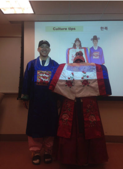 Students are taught about hanbok, which is traditional Korean attire.