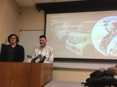 JSA officers present slide about size differences between USA and Japanese cars.