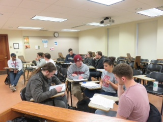 Russian Film 410 students working in groups.