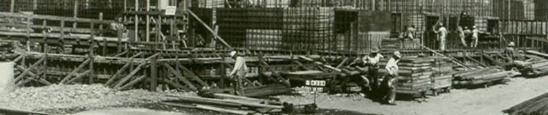 Hanford B reactor under construction, 1944