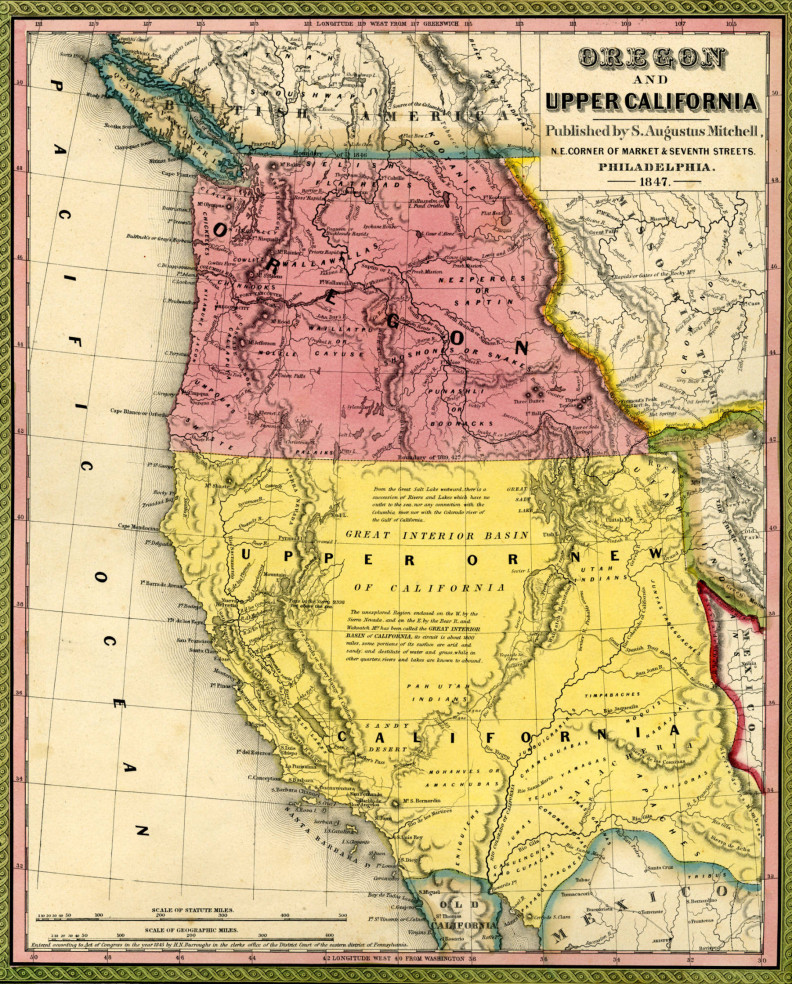 Oregon and Upper California, 1847. Courtesy WSU Libraries, MASC.