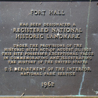 "Plaque close-up at the Fort Hall historic landmark located in the ""bottoms"" at the Fort Hall Indian Reservation."