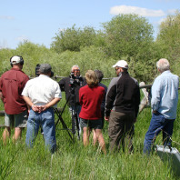 """NAKA Productions film crew interview of Darrell Shay, at the """"bottoms"""" at the Fort Hall Indian Reservation."""