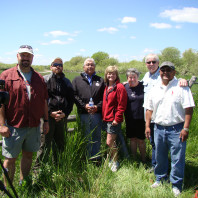 """NAKA Productions film crew after the interview of Darrell Shay, at the """"bottoms"""" at the Fort Hall Indian Reservation."""