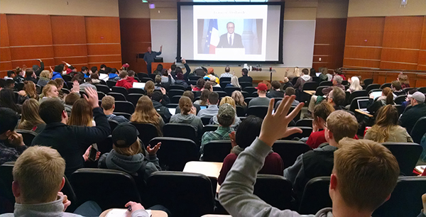 History Department Chair and French historian, Dr. Steve Kale, delivers a talk and answers questions from more than 230 students as part of a History Club-sponsored presentation following the ISIS attack on Paris in late 2015.