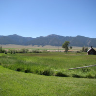 Panorama of Laurin, MT, facing the Ruby range.
